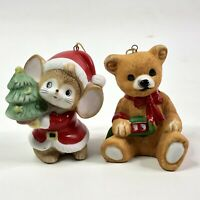 """Painted Porcelain Bear And Mouse Holiday Christmas Ornaments 2.5"""""""