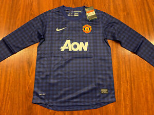 2012-13 Nike Manchester United Youth Home LS Soccer Jersey Large L Blue Boys