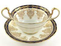 Vintage Aynsley Teacup Saucer England Navy Blue Gold Decor Double Handle S397