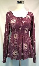 Lucky Brand Tunic Top Shirred Waist Women's SZ S Long Sleeve Shirt Purple Floral