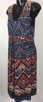 Women's Monsoon Blue Multi Sleeveless V-Neck Long Flared Dress Size UK 12