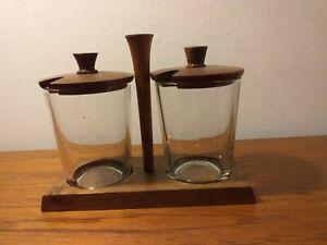 MIDCENTURY MODERN SCANDINAVIAN JAM MARMALADE POTS TEAK AND GLASS
