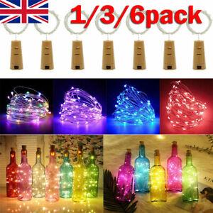 1/10x Bottle Stopper Fairy String Lights Wine/Gin Battery Cork Shaped Top 20LED