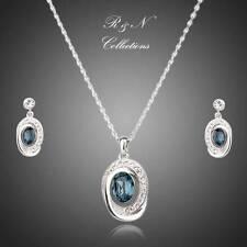 Dark Blue Platinum Plated Swiss Cubic Zircon Earrings &  Necklace Set (S381-25)