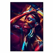Sexy Girl Canvas Prints Wall Art Colorful Body Art Painting Picture Home Decor