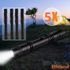 5PCS 250000LM LED Flashlight Tactical Torch Lamp Light Clip Mini Pocket Penlight