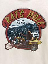 Vintage The Rats Hole Graphic T Shirt Bike Week Biker Custom Chopper Show 80s L