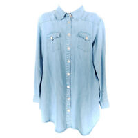 Soft Surroundings Chambray Shirt Blue Women's S Button up Long Sleeve Tencel