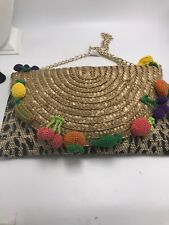 $88 Betsey Johnson Fruit and Leopard Straw Clutch A7
