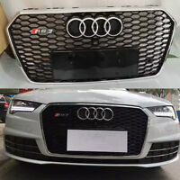 A7 Front Mesh Grille Grill for Audi A7 & S7 2016-19 To RS7 Style Chrome Frame