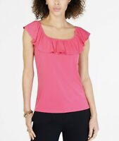 MICHAEL KORS Pink Ruffle Short Sleeve Square Neck Blouse Shirt Top Size XS