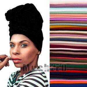 68.9'' Women's Turban Stretch Knit Head Wrap Hair Jersey Scarf Tie Chemo African