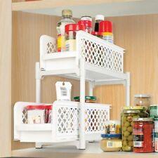 2-Tier Sliding Shelves Organize Pantry Bathroom Kitchen Basket 2 Drawer Pull Out