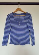 Rusty womens size 12 blue white horizontal striped button down long sleeve top