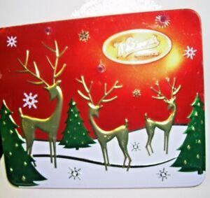 2001 Whitman's Candies Hinged Tin Box Gold Reindeer Design