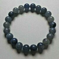 BRACELET PIERRES POLIES AVENTURINE BLEUE - lithothérapie perles boules AA 8mm