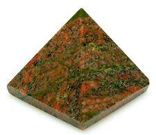 PYRAMID - UNAKITE 24-30mm Crystal w/Pouch & Description - Healing Reiki Stone