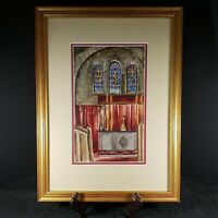 Vintage Water Color by Vivian Snyder 1956 Church Cathedral Framed