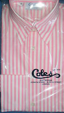 COLES 2 FOLD COTTON PINK STRIPE LADIES SHIRT -DOUBLE CUFF/ FORWARD POINT COLLAR