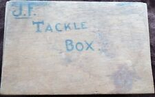Old Box with Vintage Fishing Tackle, Including Quill Floats