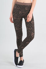 New Floral Zaccardi Leggings in Taupe One Size Fits Most