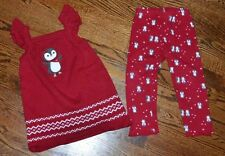 GYMBOREE GIRLS 2T PENGUIN RED SWEATER DRESS LEGGINGS OUTFIT CHRISTMAS