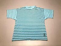 Vintage 80s Blue Black Striped Surf Skate Single Stitch T-Shirt Adult Size Large