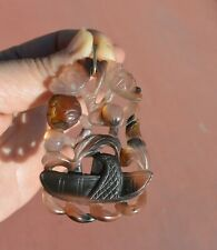 1930's Chinese Agate Carved Carving Plaque Pendant Flower Basket 14K Gold Bail