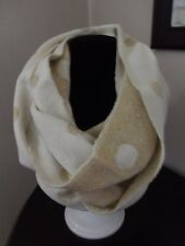 NWT Mud Pie Bag Lady METALLIC DOT CONVERTIBLE INFINITY SCARF Gold and White