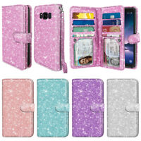 For Samsung Galaxy S8 ACTIVE G892A Luxury Bling Glitter Wallet Cards Case Cover