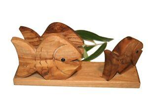 Porte-lettres poisson en bois d'olivier (ref:604)
