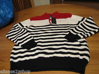 Boys M 12/14 youth stripe Tommy Hilfiger sweater long sleeve navy red off white