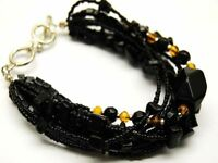 BLACK MULTI-STRAND BEADED BRACELET