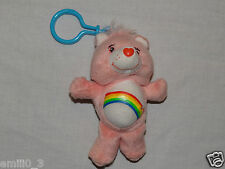 NEW CARE BEARS CHEER BEAR PLUSH BACKPACK CLIP PINK RAINBOW