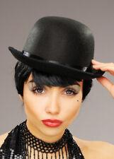 Womens Cabaret Showgirl Black Bowler Hat