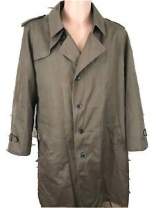Misty Harbor Mens 44R Beige Dress Trench Coat Wool Zipout Liner USA Vintage
