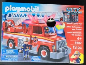 BRAND NEW PLAYMOBIL RESURE LADDER FIRE TRUCK UNIT - 5682 - CITY ACTION