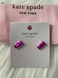 New Kate Spade Candy Shop Stud Earrings Pink Wrapped Novelty Great Gift