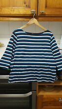 Stunning 3/4 length sleeved navy blue/teal & white stripe top size 16 M&Co