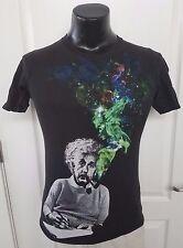 Albert Einstein Pipe Galaxy Stars Rainbow Colors Black T Shirt 2XL XXL Rare