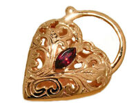 K021 Superb LARGE Heavy 9K Yellow, Rose Gold Natural Garnet Heart PADLOCK Clasp