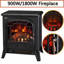 New 1800W Log Burning Flame Effect Stove Electric Fire Heater Fireplace Standing