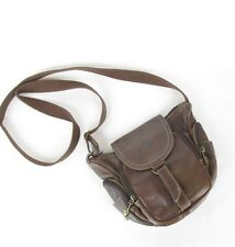 """Hippie Clan"" Branded Brown Leather Messenger Cross Body Satchel Purse"