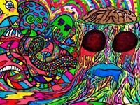 Psychedelic Shrooms Brain Hipster Colorful Art Wall Print POSTER FR