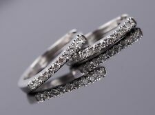 14K Solid White Gold Natural Pave Diamond 0.45ct Hang On Small Hoop Earrings