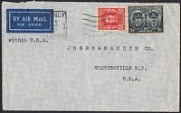 1945 5½d Gloucester + KGVI 2½d on 1945 airmail cover to the USA TS469