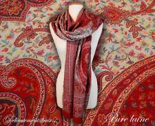 Superbe Châle Kani 100% laine, dominantes rouge et beige -CH16 0b6bd35b0c7