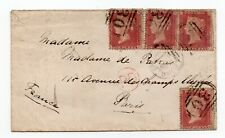 More details for 1860 penny red star x4 on 4d rated envelope ashby de la zouch to paris france