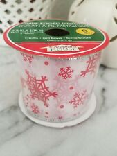 """Red snowflakes on White Satin 2 1/2"""" wired edge ribbon 3 yds. home decor floral"""