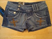 ELECTRIC DENIM BLUE JEAN SHORT SHORTS RHINESTONES SIZE 1 New With Tags